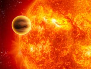 WASP17 तारे की परिक्रमा मे WASP17b ग्रह (कल्पना)